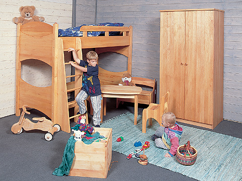 hochbett und etagenbett jonas massive erle m belschmiede. Black Bedroom Furniture Sets. Home Design Ideas